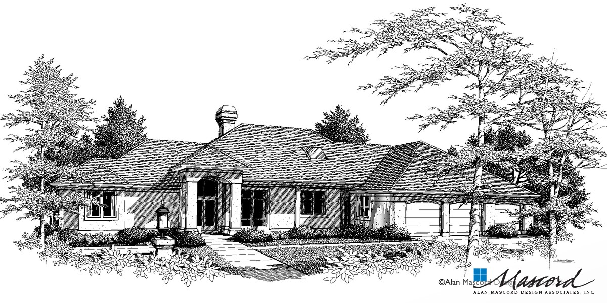 Image for Grayson-European Plan with Grand Entry and Arched Portico-Front Rendering