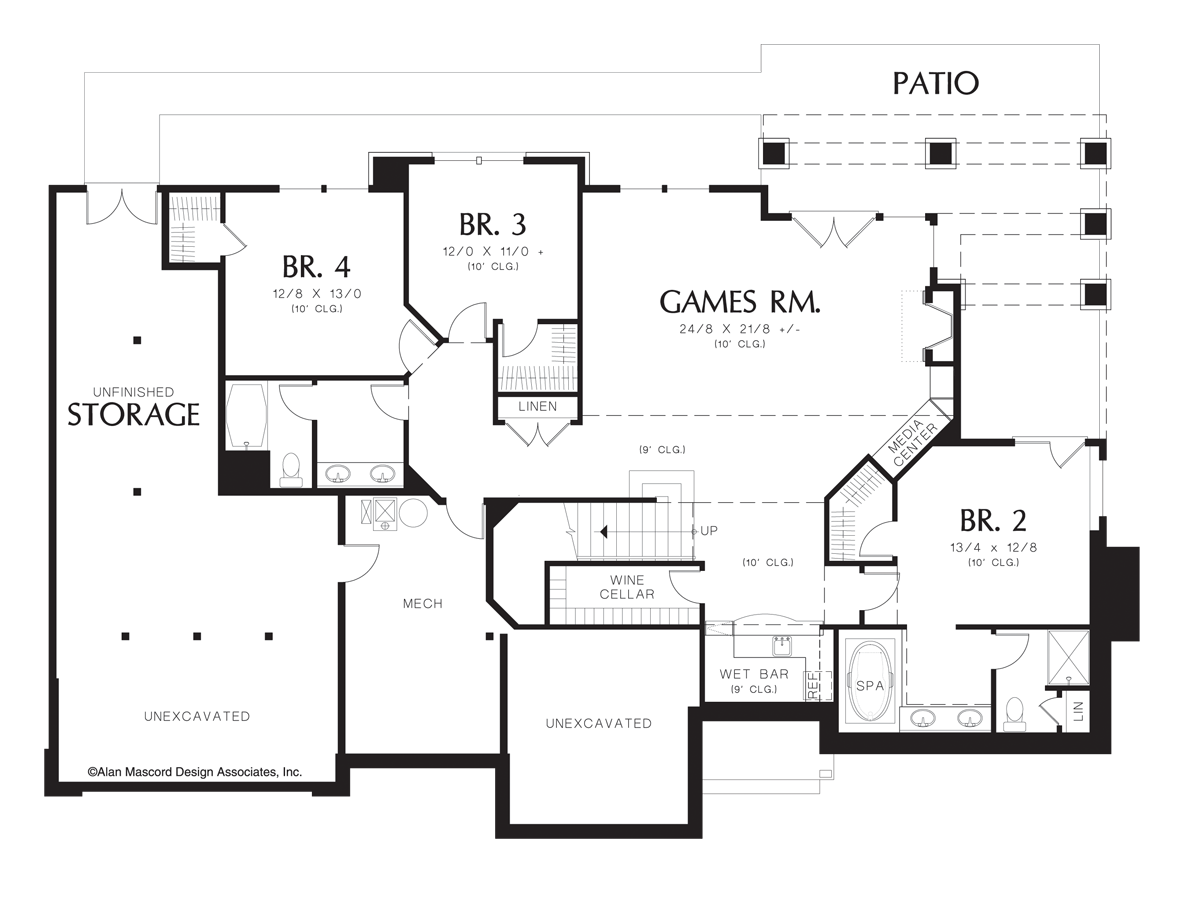 Image For Bab 4 Bedroom Daylight Bat Plan With Wine Cellar Lower Floor