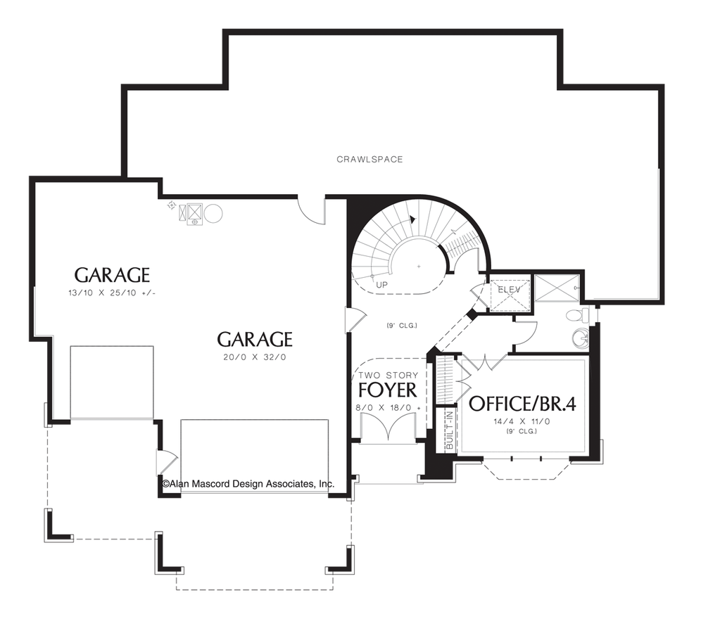 Contemporary house plan 1321 the leavenworth 3317 sqft 4 for Elevator floor plan