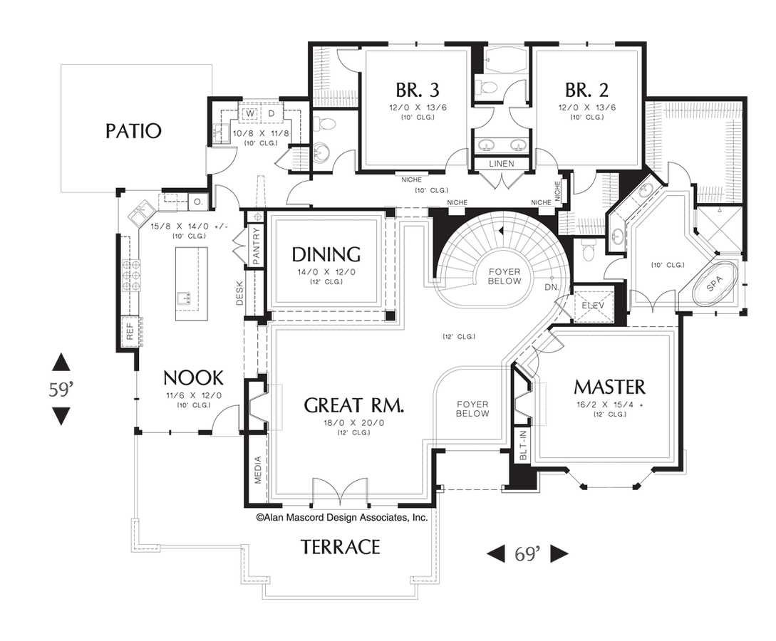 Contemporary house plan 1321 the leavenworth 3317 sqft 4 for Curved staircase floor plans