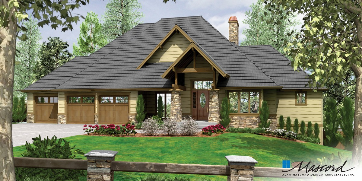 Image for Lenhart-Craftsman Style Home Plan for Down-sloping Lot-Front Rendering