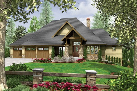 Image for Lenhart-Craftsman Style Home Plan for Down-sloping Lot-652