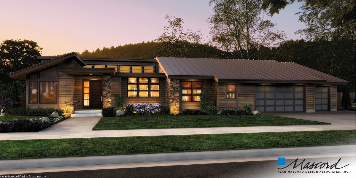 Image for Mercer-Single Story Contemporary Plan-Front Rendering