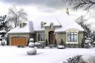 Front Rendering of Mascord House Plan 1329A - The Langley