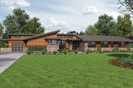 Front Rendering of Mascord House Plan 1333 - The Broadway