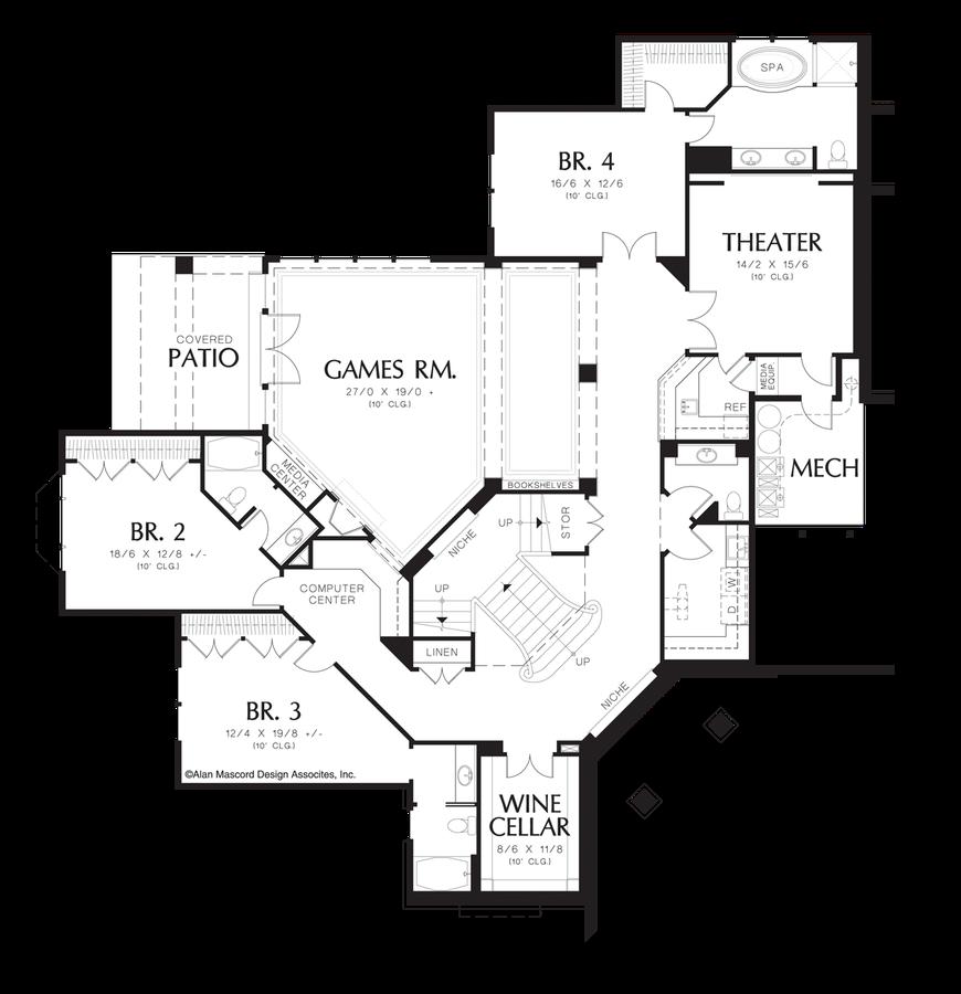 Hillside Plan With Garage Under 69131am: Mascord House Plan 1409