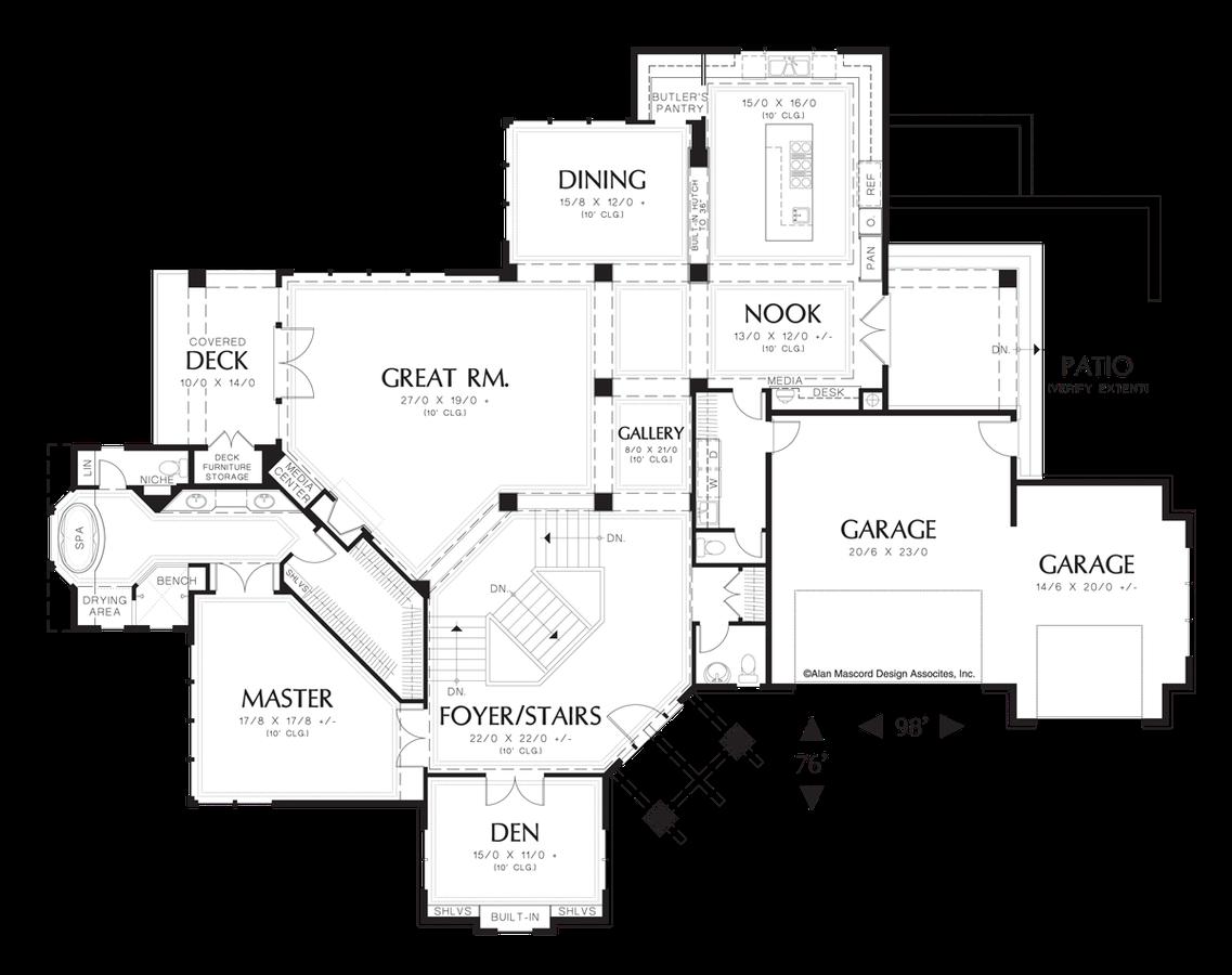 Craftsman house plan 1409 the kellenberg 5949 sqft 4 for Hillside floor plans