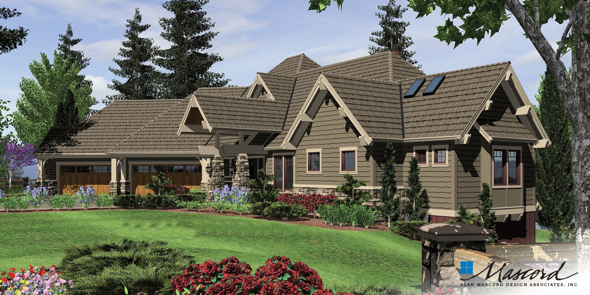 Image for Tasseler-Large One Story Plan with Walk-out Basement-Front Rendering