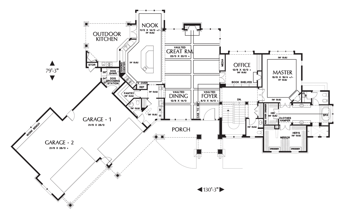 Image for Tasseler-Large One Story Plan with Walk-out Basement-Main Floor Plan