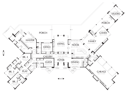 Image for Harrisburg-Prairie Home with Multiple Wings and Attached Studio-Main Floor Plan