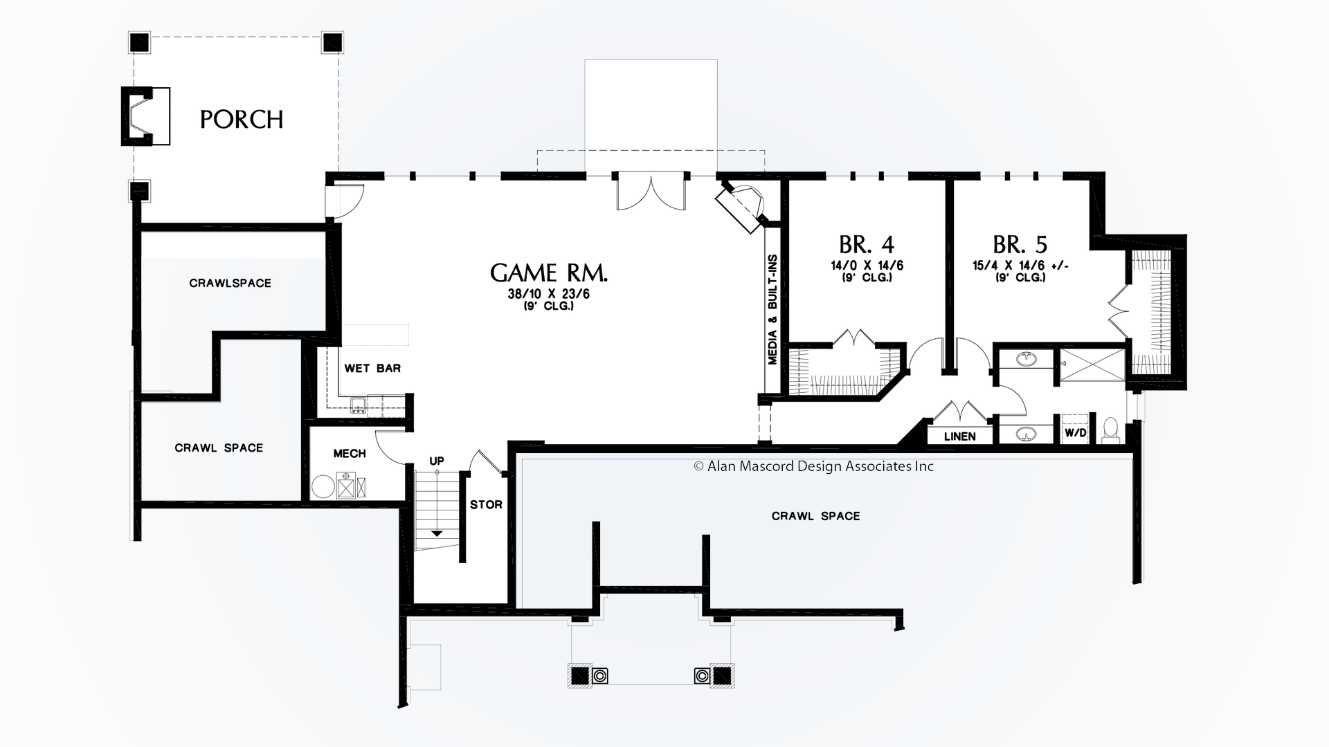 Mascord house plan 1415 the bremen for Crawl space house plans