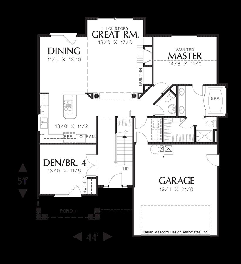 Mascord Floor Plans Part - 15: Image For Wellborn-2 Level Split Bedroom Plan-Main Floor Plan