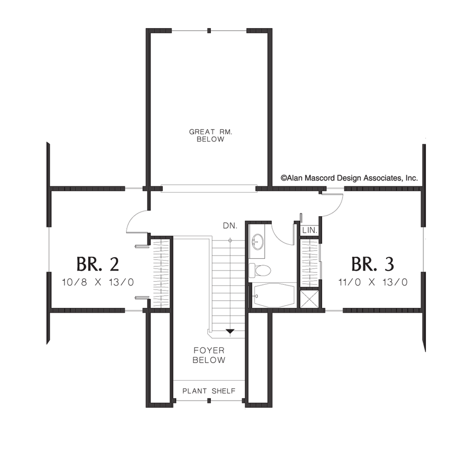mascord house plan 2106c the wellborn