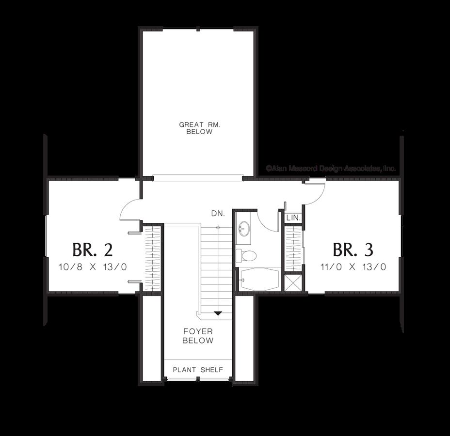 Mascord house plan 2106c the wellborn image for wellborn 2 level split bedroom plan upper floor plan jameslax Choice Image