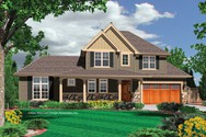 Front Rendering of Mascord House Plan 21104A - The Prescott
