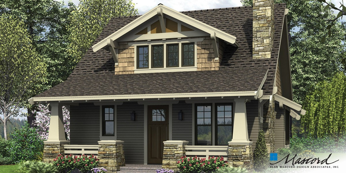 Image for Morris-Craftsman Bungalow with Open Floor Plan and Loft-Front Rendering