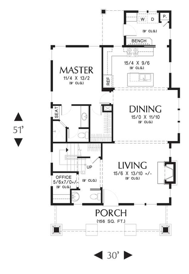 Image for Morris-Craftsman Bungalow with Open Floor Plan and Loft-Main Floor Plan