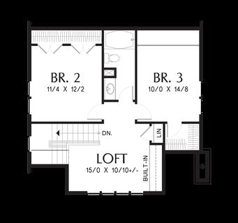 Image for Morris-Craftsman Bungalow with Open Floor Plan and Loft-Upper Floor Plan