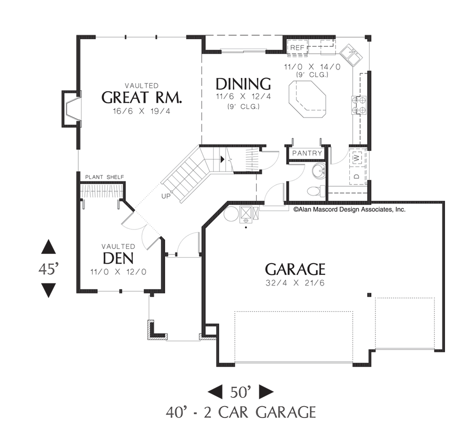 Mascord Floor Plans Part - 41: Image For Larson-Classic Craftsman Home Plan With Covered Entry-Main Floor  Plan