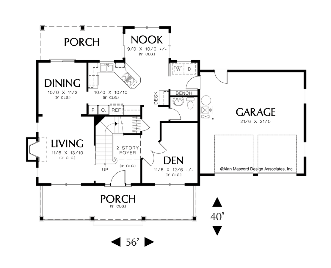 mascord house plan 2132h the mitchell image for mitchell charming and compact colonial home plan main floor plan