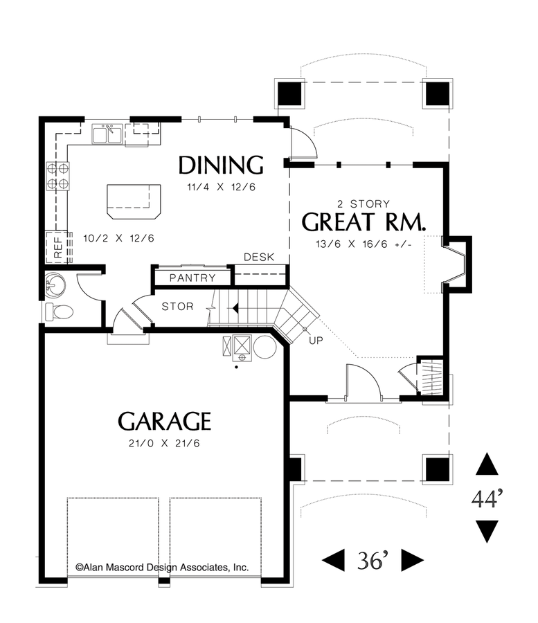 Garage Plans Blueprints 26 X 36 3 Car Traditional: Craftsman House Plan 2154F The Corbett: 1500 Sqft, 3 Beds