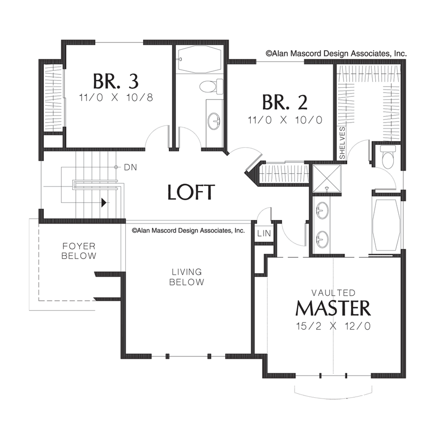 mascord house plan 2163 the newell image for newell sloping lot tri level plan with loft upper floor plan