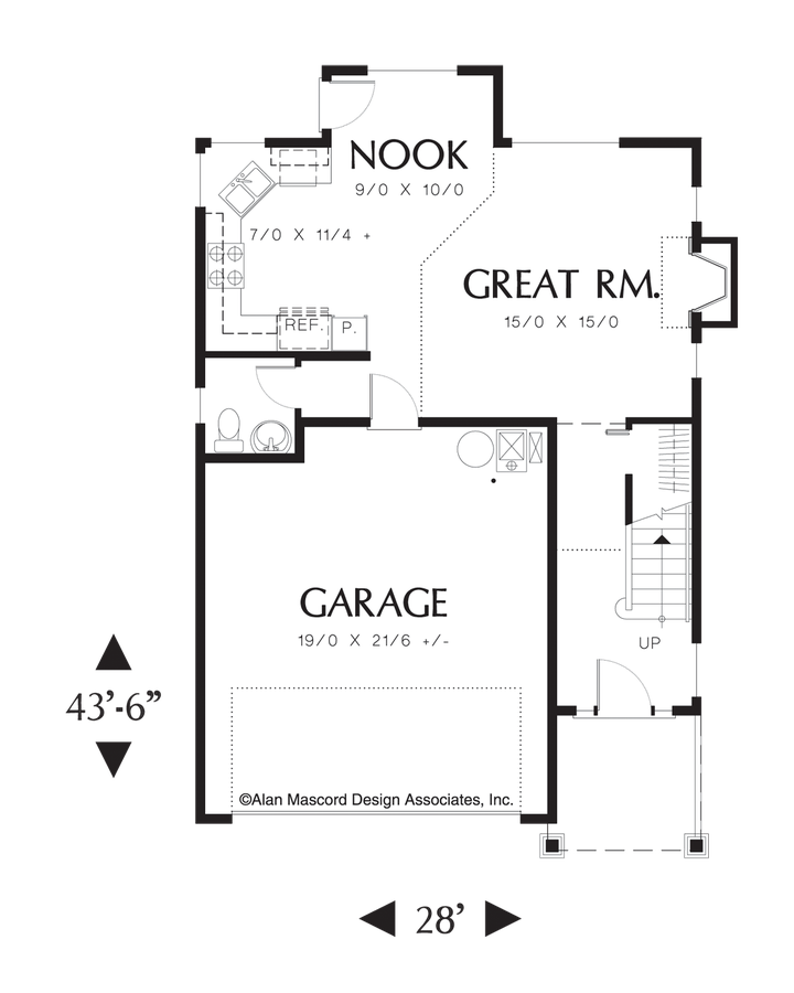 mascord house plan 2174b - the monroe