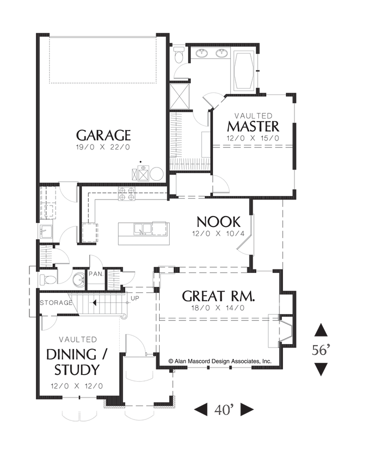 Mascord Floor Plans Part - 18: Image For Bronson-French Cottage With Vaulted Master On Main Floor-Main Floor  Plan