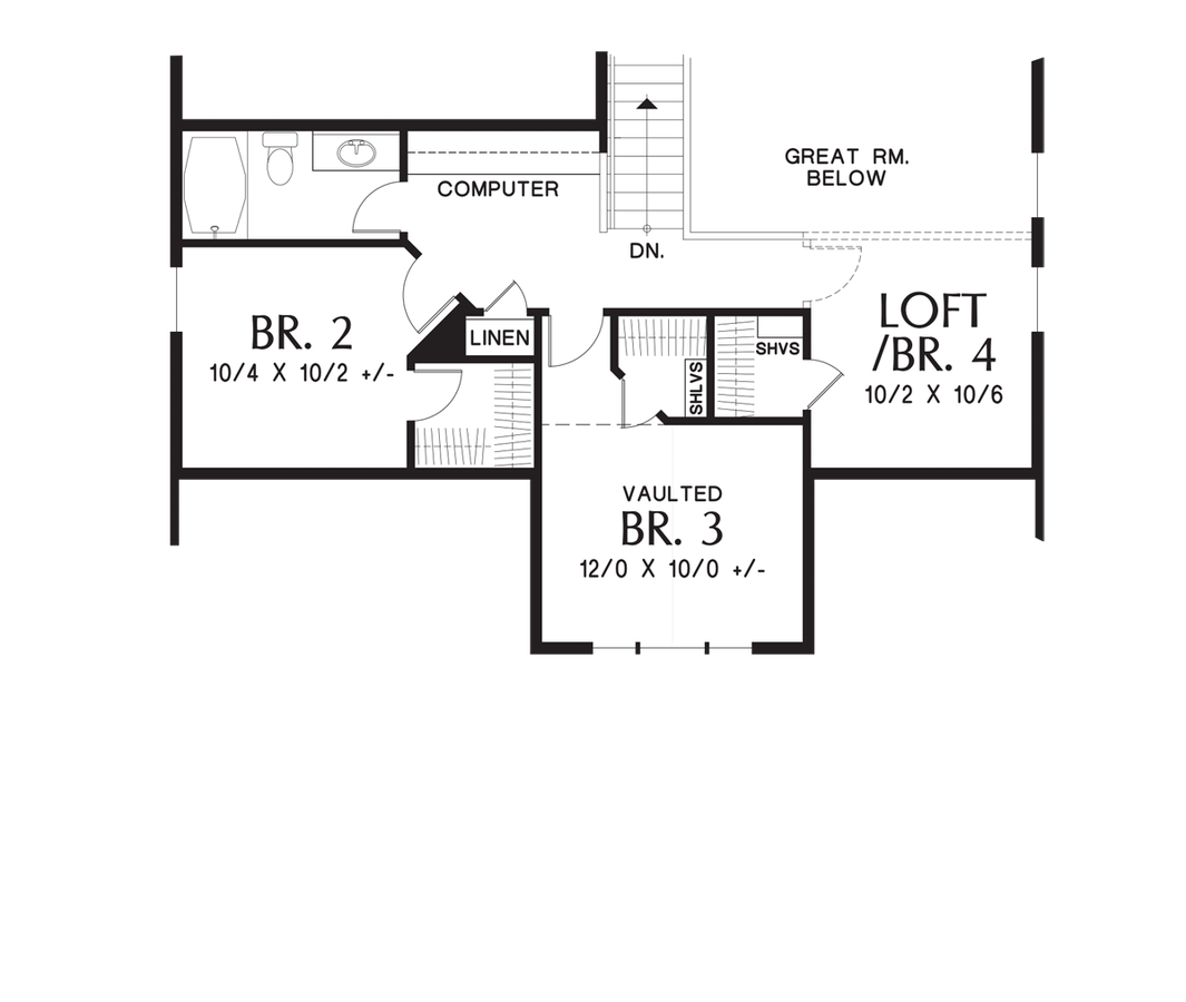 ad573547e79efb Upper Floor Plan image for Mascord Nehalem-Craftsman Perfect for Newlyweds  or Empty Nesters -