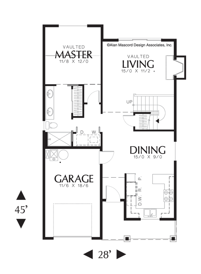 Mascord Floor Plans Part - 29: Image For Meredith-Narrow Craftsman Plan With Vaulted Ceilings-Main Floor  Plan