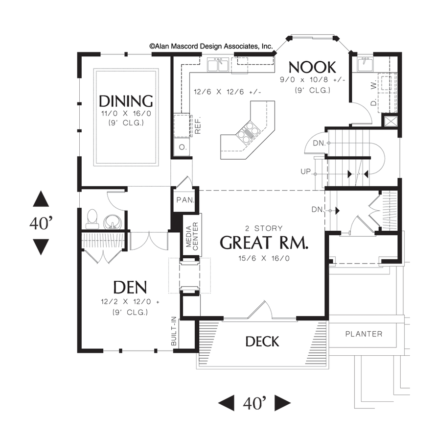 Contemporary house plan 22109 the anson 2262 sqft 3 for Great room floor plans single story
