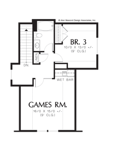 Image for Sidell-European Cottage with Games Room and Wet Bar-Upper Floor Plan