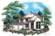 Front Rendering of Mascord House Plan 22111 - The Huxley