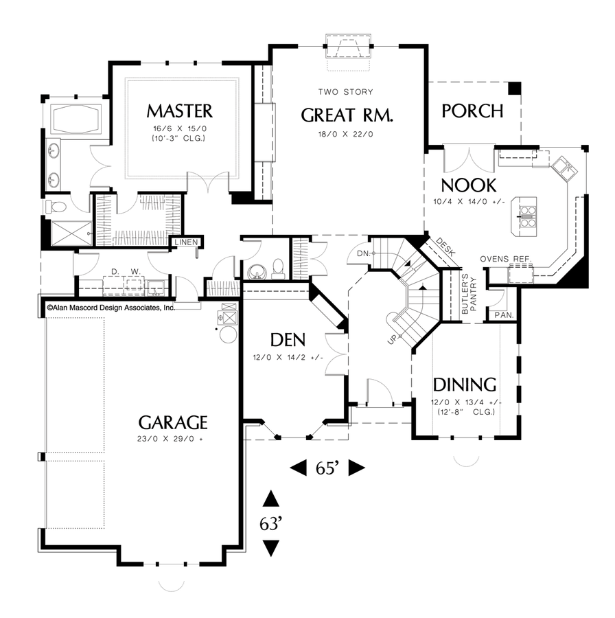 Craftsman house plan 22118 the dunewood 2803 sqft 3 for 3 bedroom floor plans with bonus room