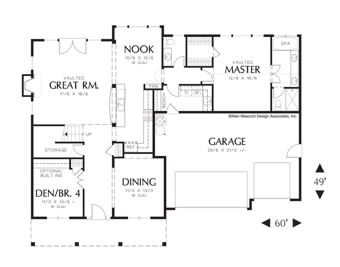 mascord house plan 22133a the merrill image for merrill country plan with vaulted master suite and loft area main floor