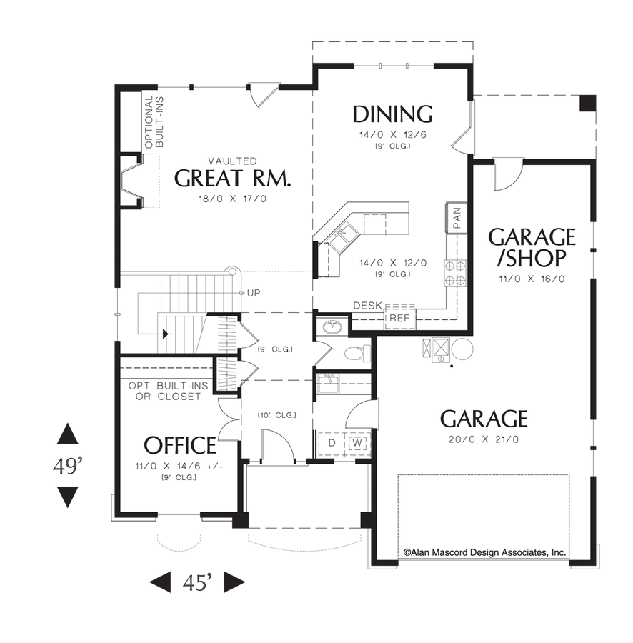 Mascord house plan 22140 the landon for Great room floor plans