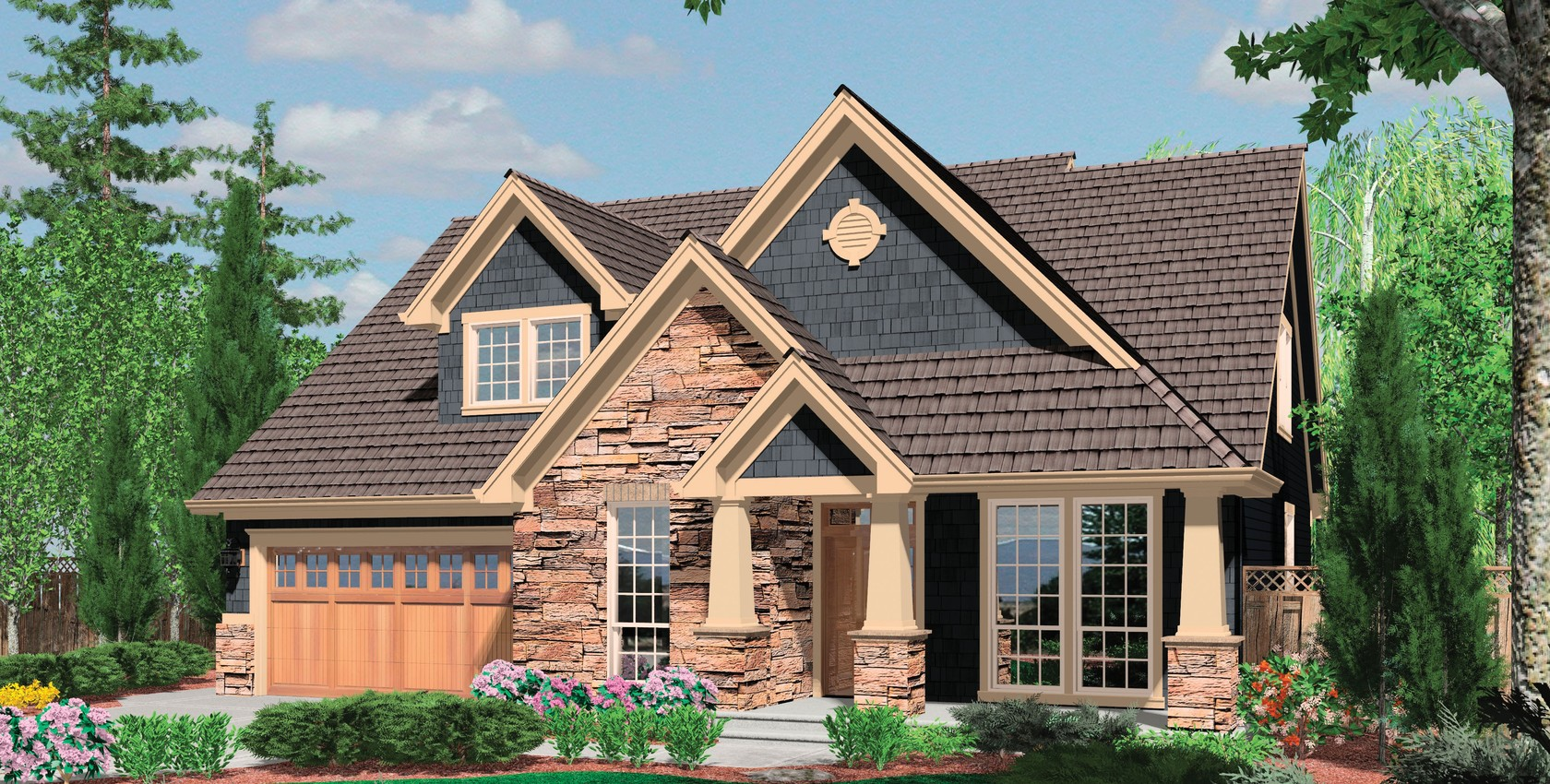Image for Ackley-Cozy European Cottage Plan with Deluxe Master Suite-3816