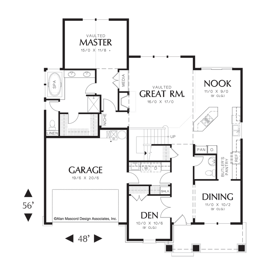 Craftsman house plan 22145 the ackley 2289 sqft 3 for Master floors mn