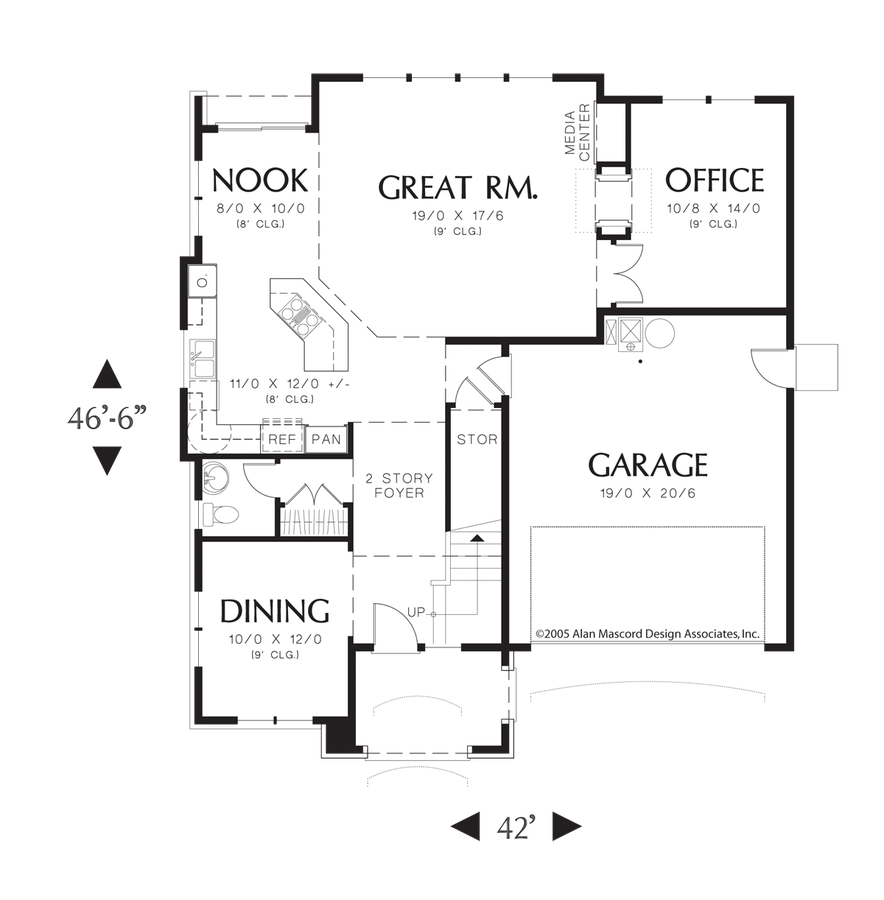 Mascord Floor Plans Part - 44: Image For Norwood-European Cottage Plan With Island In Kitchen-Main Floor  Plan