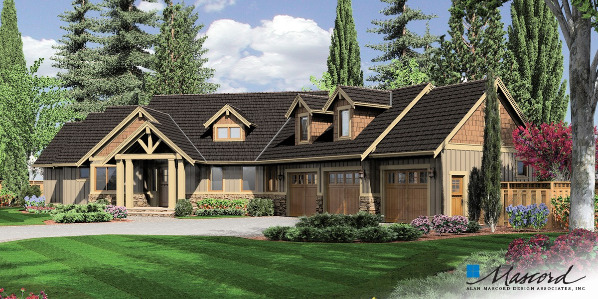 Image for Halstad-Lodge Style Plan with Generous Master and Kitchen-Front Rendering