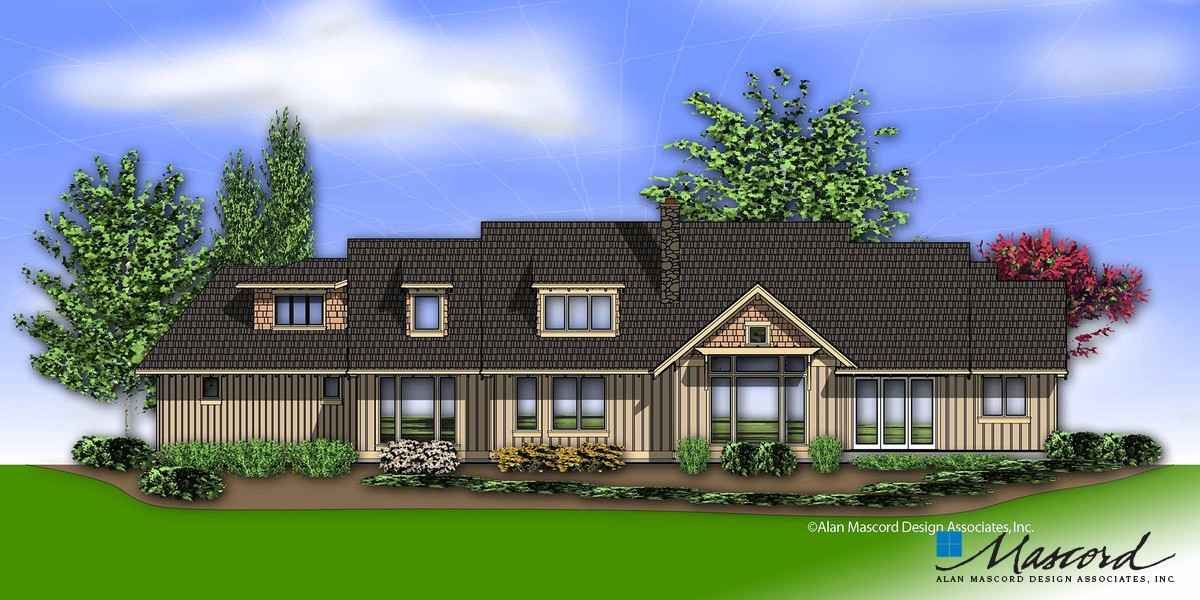 Image for Halstad-Lodge Style Plan with Generous Master and Kitchen-Rear Rendering