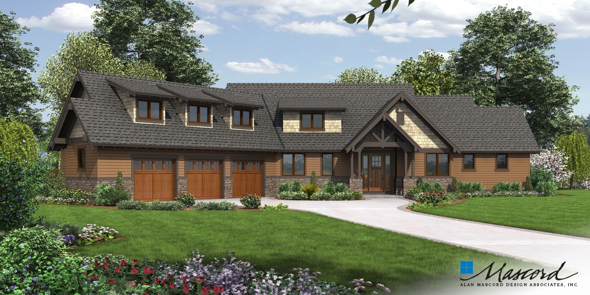 Mascord house plan 22156f the abbeywood for House plans with 3 car attached garage