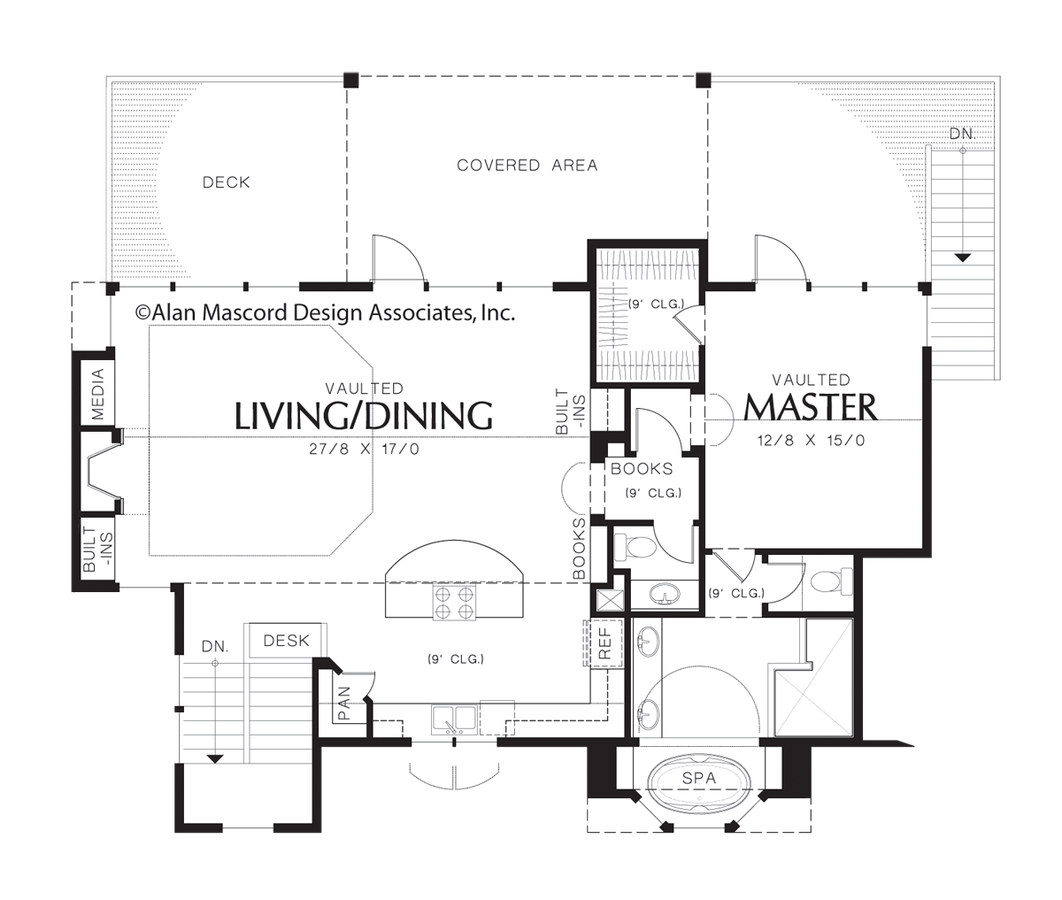 Mascord house plan 22160 the pemscott Reverse living home plans