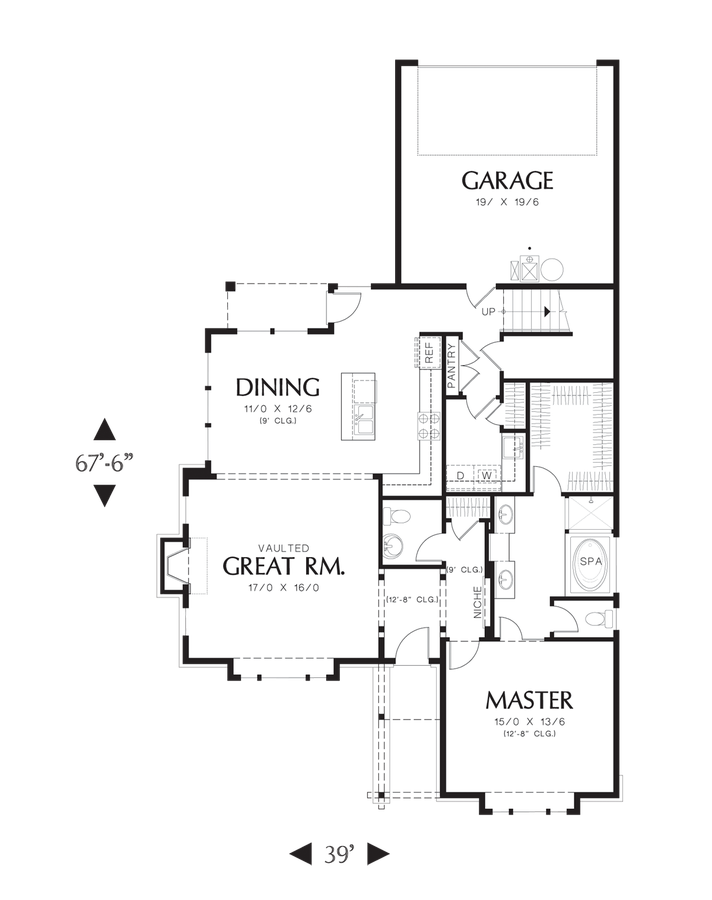 Craftsman house plan 22168 the jamison 2160 sqft 3 for Rear master bedroom house plans
