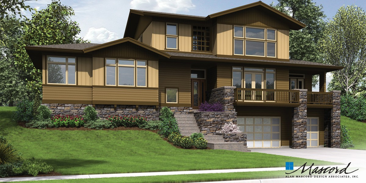 Image for Renicker-Delightful Craftsman for Uphill Sloping Lots-Front Rendering