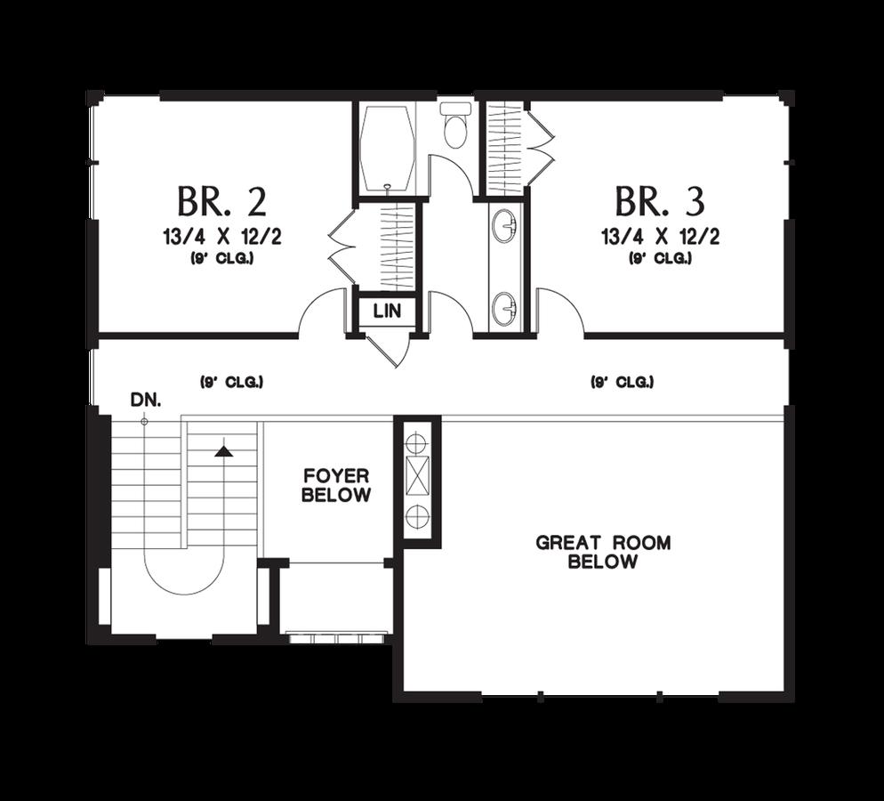 Image for Renicker-Delightful Craftsman for Uphill Sloping Lots-Upper Floor Plan