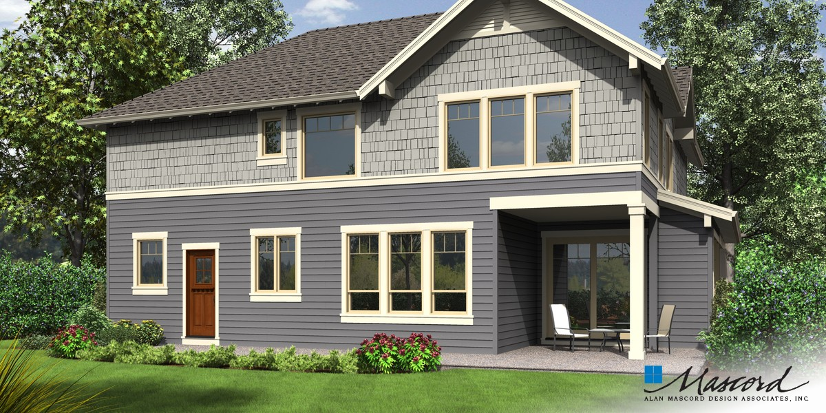 Image for Hood River-Amenity Rich NW Craftsman Plan with Small Footprint and Huge Personality-Rear Rendering