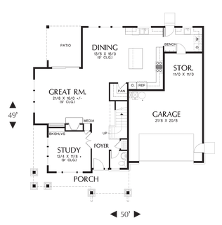 Image for Hood River-Amenity Rich NW Craftsman Plan with Small Footprint and Huge Personality-Main Floor Plan