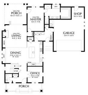 Image for Davidson-Traditional Craftsman Home with Modern Design-Main Floor Plan