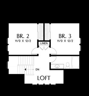 Image for Davidson-Traditional Craftsman Home with Modern Design-Upper Floor Plan
